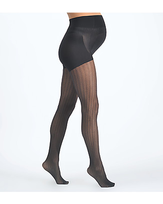 Cache Coeur Zig Zag Maternity Tights 30D, Black - For all trendy mums! Tights