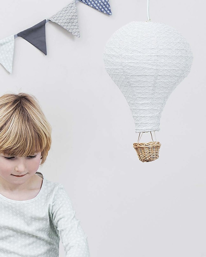 Camcam Copenhagen Air Balloon Lamp Grey Wave With Mint Cord Comes In A Beautiful