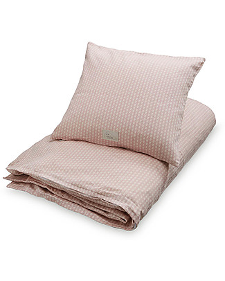 Camcam Copenhagen Bedding, Duvet Cover + Pillow Case - Sashiko Blush - 100% Organic Cotton Blankets