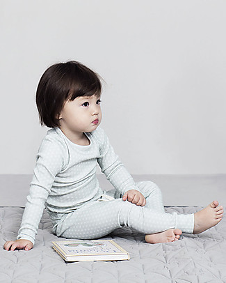 Camcam Copenhagen Long Sleeved Pyjamas Sashiko Mint, 100% Organic Cotton Jersey Pyjamas