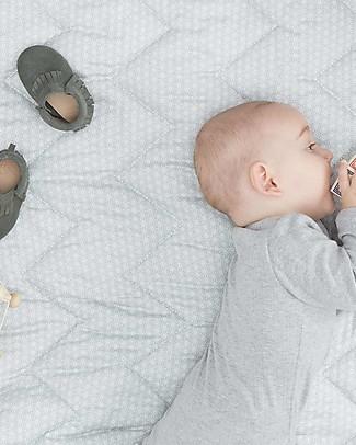 Camcam Copenhagen Quilted Baby Blanket, Sashiko Mint - 100x100 cm, Organic Cotton Blankets