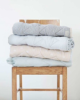 Camcam Copenhagen Quilted Baby Blanket, Sashiko Shade – 100x100 cm, Organic Cotton Blankets