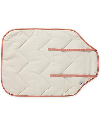 Camcam Copenhagen Quilted Changing Mat, 45 x 65 cm, Sashiko Blush - Organic Cotton Travel Changing Mats