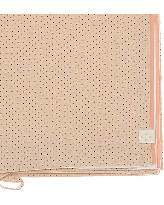 Camomile London Polka Dot Cot Duvet Cover, Peach/Parchment – 120 x 150 cm – 100% cotton Duvet Sets