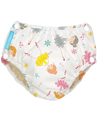 Charlie Banana 2-in-1 Swim Diaper & Training Pant, Ballerina - Washable, with Snaps! Swim Diaper