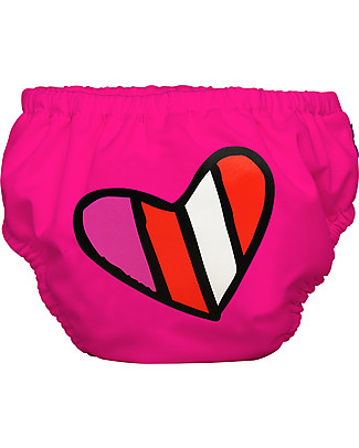 Charlie Banana 2-in-1 Swim Diaper & Training Pant, Fuchsia/Heart – Washable, perfect at the beach or swimming pool! Swim Diaper