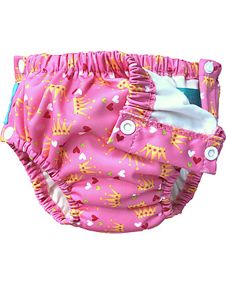 Charlie Banana 2-in-1 Swim Diaper & Training Pant with Snaps, Pink/Princess – Washable, perfect at the beach or swimming pool! Swim Diaper