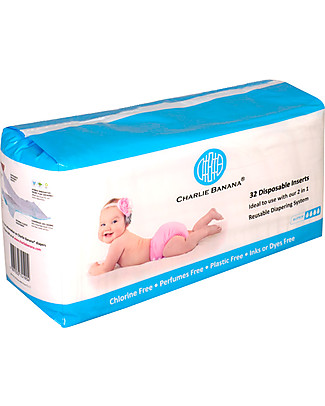 Charlie Banana Disposable Inserts for Washable Diapers, Pack of 32 Washable Nappies