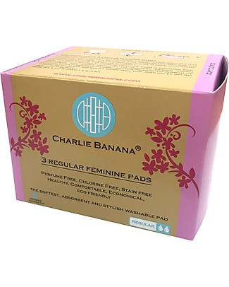 Charlie Banana Pack of 3 Washable Feminine Pads Regular, Cotton Bliss Sanitary Napkins and Pantyliners