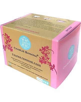 Charlie Banana Pack of 3 Washable Feminine Pads Super, Diva Ballerina Sanitary Napkins and Pantyliners