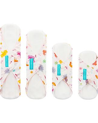 Charlie Banana Pack of 4 Washable Feminine Liners and Pads Combo, Diva Ballerina Sanitary Napkins and Pantyliners