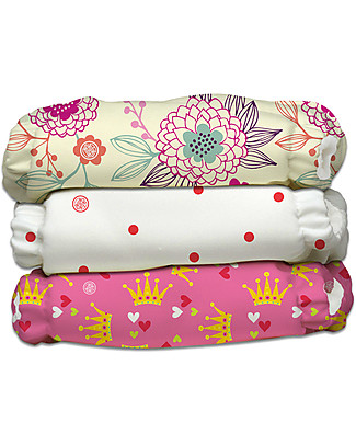 Charlie Banana Set of 3 Washable All in One Pocket Diaper with 6 Deluxe Soft Fleece Inserts, Queen - One Size From 0 to 30 months Washable Nappies