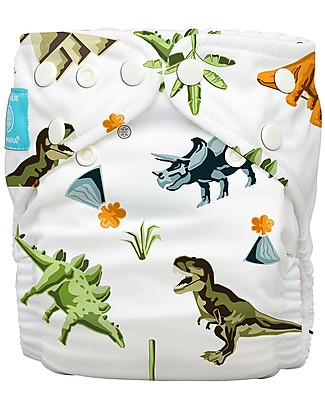 Charlie Banana Washable All in One Pocket Diaper with 2 Deluxe Soft Fleece Inserts, Dinosaurs - One Size From 0 to 30 months Washable Nappies