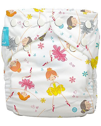 Charlie Banana Washable All in One Pocket Diaper with 2 Deluxe Soft Fleece Inserts, Diva Ballerina - One Size From 0 to 30 months Washable Nappies