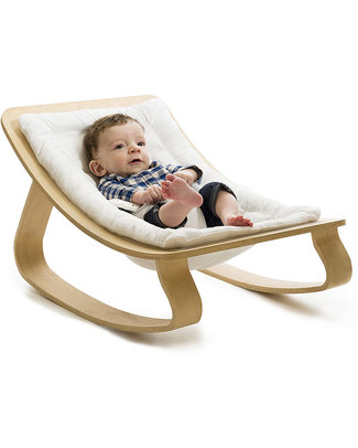Charlie Crane Baby Rocker LEVO - Beech, Gentle White - Timeless and Eco-Friendly Design! Bouncers