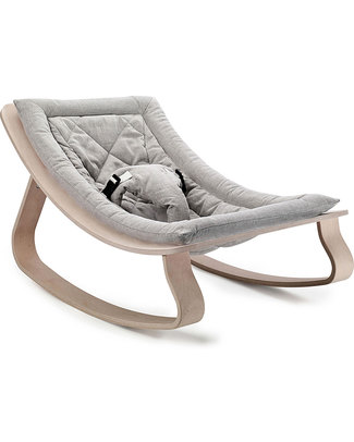 Charlie Crane Baby Rocker LEVO - Beech, Sweet Grey -Timeless and Eco-Friendly Design! Bouncers