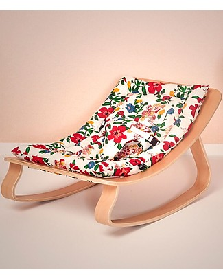 Charlie Crane Baby Rocker Levo in Beech - Hibiscus -Timeless and Eco-Friendly Design! Bouncers