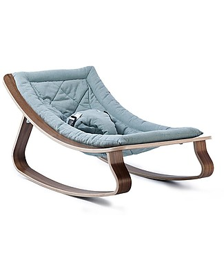 Charlie Crane Baby Rocker LEVO - Walnut, Aruba Blue -Timeless and Eco-Friendly Design! Bouncers