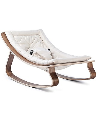 Charlie Crane Baby Rocker LEVO - Walnut, Gente White -Timeless and Eco-Friendly Design! Bouncers