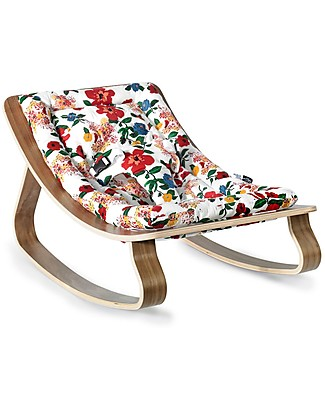 Charlie Crane Baby Rocker LEVO - Walnut, Hibiscus -Timeless and Eco-Friendly Design! Bouncers