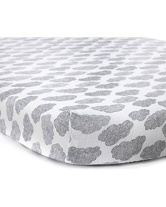 Charlie Crane Mattress Protective Cover 70 x 150 cm for MUKA Evolutive Bed, Cloud - 100% cotton Mattresses