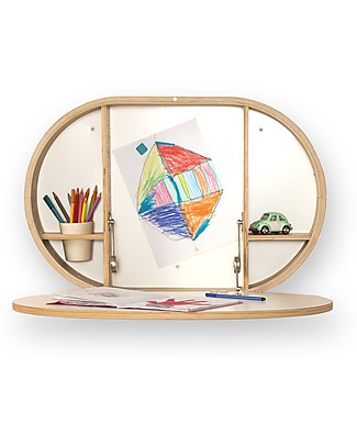 Charlie Crane Wall-mounted BAKI desk - the Practical Space Saving Solution! Shelves