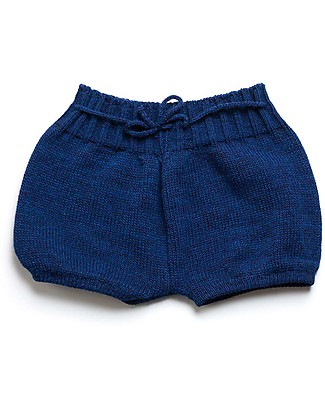 Cherry Papaya Knitted Shorts with Drawstrings,Blue Shorts