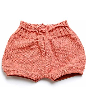 Cherry Papaya Knitted Shorts with Drawstrings, Red Shorts
