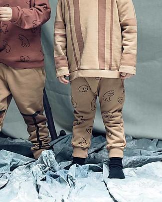 Cherry Papaya Long Fleece Baby Pants, Bear - 100% organic cotton Trousers