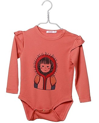 Cherry Papaya Long Sleeved Bodysuit, Eskimo - 100% organic cotton Long Sleeves Bodies