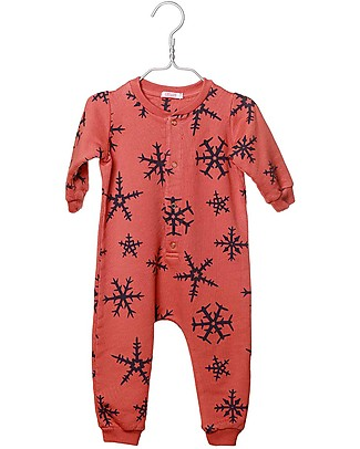 Cherry Papaya Overall with ¾ Sleeves, Snowflake - 100% organic cotton Rompers