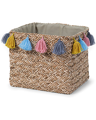 Childhome Basket Straw Woven Basket with Tassels, 32 x 32 x 30 cm Toy Storage Boxes