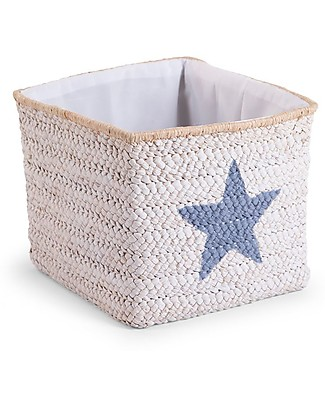 Childhome Box Straw Woven Basket, White with Cloud and Star – 30x30x33 cm Toy Storage Boxes