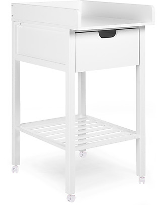 Childhome Changing Station with Drawer, White – Includes removable wheels! Changing Tables