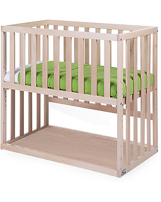 Childhome Co-sleeping Bedside Crib with Wheels, 90x50 cm, Beech Wood, Natural – Ideal next to the parents' bed! Cots & Cotbeds