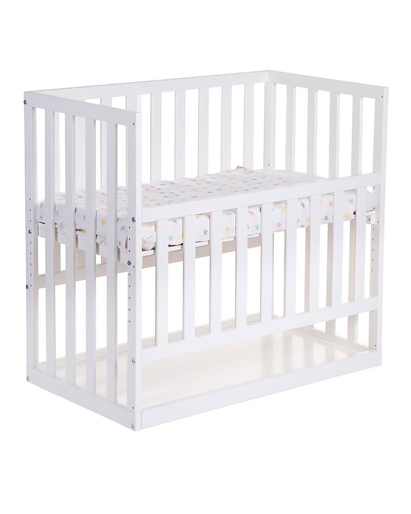 childhome cosleeping bedside crib with wheels x cm beech  - childhome cosleeping bedside crib with wheels x cm beech wood white