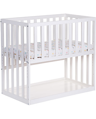 Childhome Co-sleeping Bedside Crib with Wheels, 90x50 cm, Beech Wood, White – Ideal next to the parents' bed! Cots & Cotbeds
