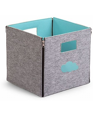 Childhome Felt Foldable Storage Box, Grey/Mint Blue Felt – 32x32x29 cm Toy Storage Boxes