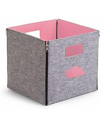 Childhome Felt Foldable Storage Box, Grey/Pale Pink Felt – 32x32x29 cm Toy Storage Boxes