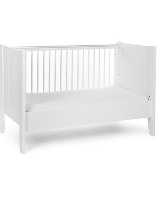 Childhome Flemish Evolutive Bed, White, 70 x 140 cm – From cot to junior bed! Cots & Cotbeds