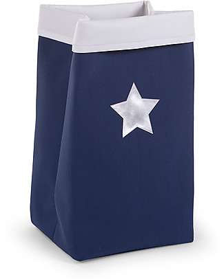 Childhome Foldable Canvas Box, Dark Blue with Star - 32 x 32 x 60 cm Toy Storage Boxes