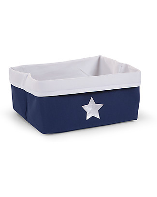 Childhome Foldable Canvas Box, Dark Blue with Star - 40 x 30 x 20 cm Toy Storage Boxes