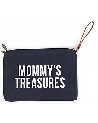 Childhome Mommy Treasures, Clutch Bag 33 x 23 x 3 cm, White and Navy Diaper Changing Bags & Accessories