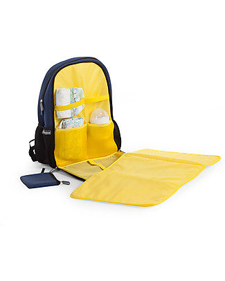 Childhome Neoprene Diaper Back Pack 45 x 32 x 16 cm, Navy/Yellow - Includes foldable changing mat! Large Backpacks