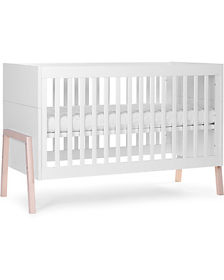 Childhome Nordic Acacia Evolutive Bed, White, 70 x 140 cm – From cot to junior bed! Cots & Cotbeds