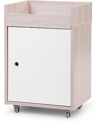 Childhome Nordic Acacia Nightstand, White – With wheels, easy to move! Dressers