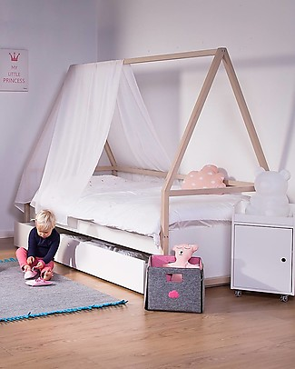 Childhome Nordic Acacia Single Bed + Trolley Tipi + Trundle , 90 x 200 cm  Single Bed