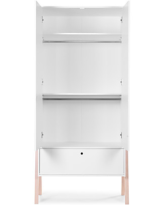 Childhome Two Doors Nordic Acacia Wardrobe, White  Hangers & Hooks