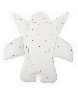 Childwood Angel Universal Seat Cushion, White/ Gold dots - 100% cotton jersey High Chairs