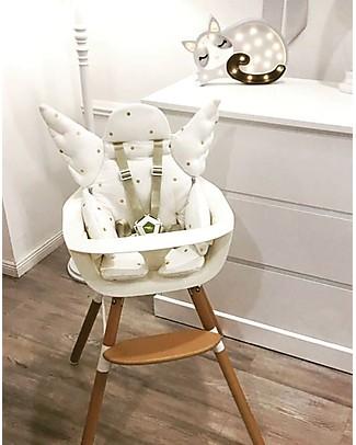 Childwood Angel Universal Seat Cushion, White/ Gold dots - 100% cotton jersey High Chairs